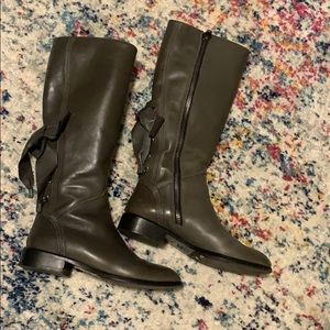 Valentino boots grey bow tie back side zip 35.5